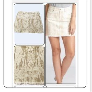 DEAR JOHN MINI JEAN CREAM & TAN FRINGE SKIRT